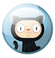 cartoon character of a black cat with white face vector image vector image