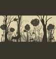 cartoon silhouette deer and hare vector image vector image