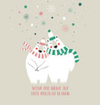 couple of cute bears in winter vector image