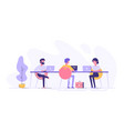 coworking space with creative people at the table vector image