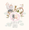 cute little girl sleeping with cat baby shower vector image