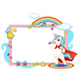 cute unicorn cartoon character with blank banner vector image