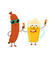 funny beer glass and frankfurter sausage vector image vector image