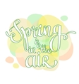 hand lettering words Spring is in the air vector image vector image
