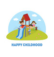 happy childhood banner template kids having fun vector image