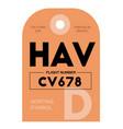 havana airport luggage tag vector image vector image