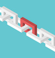 isometric red chain link vector image vector image