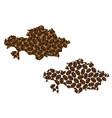 kazakhstan - map of coffee bean vector image