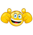 laughing smilie with a thumbs up sign vector image vector image