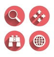 Magnifier glass and globe signs Fullscreen vector image vector image