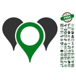 Map Pointers Icon With Bonus vector image