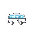 minivan thin line stroke icon minivan vector image vector image