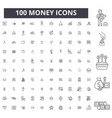 money editable line icons 100 set vector image vector image