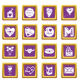 mother day icons set purple square vector image