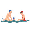 parent teaching her little son to swim in swimming vector image vector image