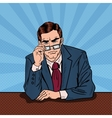 Pop Art Serious Businessman with Eyeglasses vector image vector image