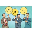 Protesters with placards Emoji joy sadness vector image vector image