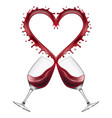 red wine glasses toast with heart shaped splash vector image vector image