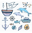 Sea life sketch hand drawn doodle set Nautical vector image vector image