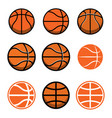 set basketball balls isolated on white vector image