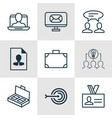 set of 9 business management icons includes vector image vector image
