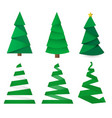 set of christmas trees made from paper origami vector image vector image