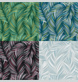 set of tropical leaves seamless textured pattern vector image