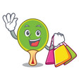 shopping ping pong racket character cartoon vector image vector image