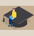 student graduates from university man is sitting vector image