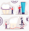 teeth cleaning and whitening flat concept vector image vector image