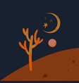 warm moon desert cactus night landscape art vector image