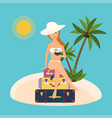 woman sits on suitcases with cocktail in hand vector image vector image