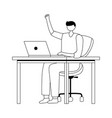 young man using laptop on desk isolated design vector image vector image