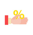businessmans hand holds a percentage discount vector image