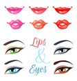 set of lips and eyes vector image