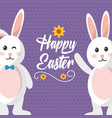 happy easter bunnies waving and wink expression vector image