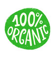 100 organic badge sign round eco logo vector image