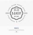 bakery logo with thin line icon of croissant vector image vector image