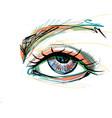 beautiful eye with long eyelashes vector image