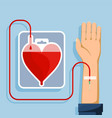 blood donation bag in shape of a red human heart vector image