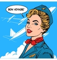 Bon voyage stewardess airplane travel tourism vector image