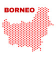 borneo map - mosaic of valentine hearts vector image vector image