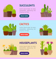 cartoon cactus plant in pots banner horizontal set vector image vector image