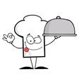 Chef Hat Guy Holding A Platter vector image vector image