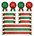 christmas ribbons and emblems vector image vector image