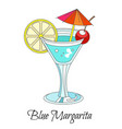 cocktail drink blue margarita with lemon and vector image vector image