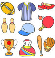 collection stock of sport object equipment doodles vector image vector image