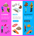 color mountaineering signs 3d banner vecrtical set vector image vector image