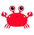 crab toy icon big eyes claws cute cartoon kawaii vector image vector image