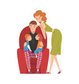 dad sitting on armchair with son and daughter mom vector image vector image